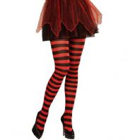 Black/Red Striped Tights - Plus Size